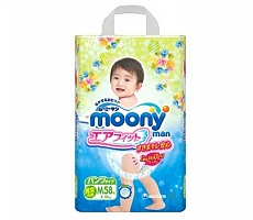 Подгузники Moony Unicharm M 6-10кг, 58шт